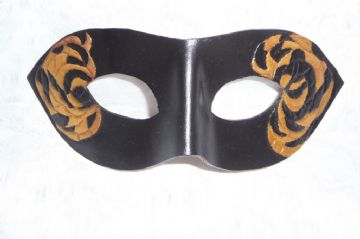 Genuine Handmade Hand Carved Black & Gold Leather  Mask